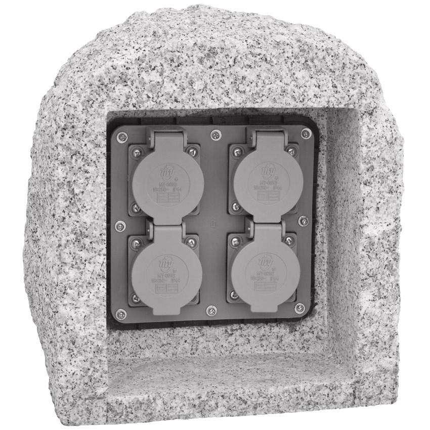 gartensteckdose echter granit unikat 4 steckdosen mit 10m zuleitung. Black Bedroom Furniture Sets. Home Design Ideas