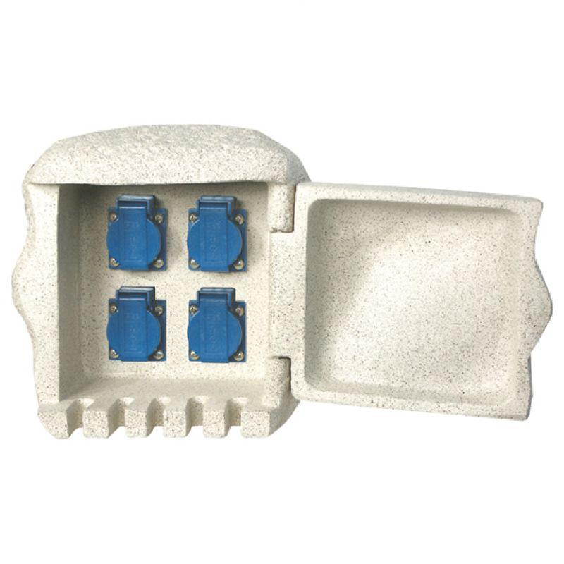 gartensteckdose 4 fach steckkdosenverteiler mit t r kunststein. Black Bedroom Furniture Sets. Home Design Ideas
