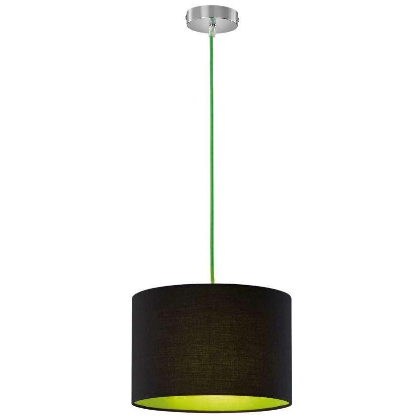 trio pendelleuchte metall chrom textilschirm schwarz gr n 1. Black Bedroom Furniture Sets. Home Design Ideas