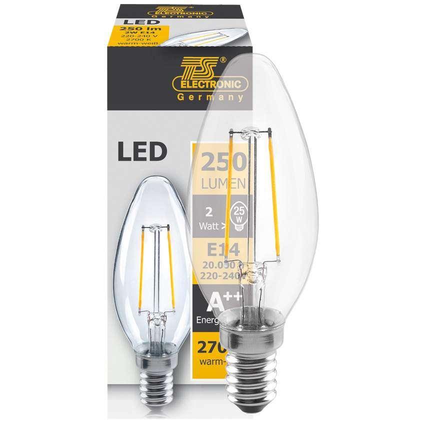 led fadenlampe kerze e14 2w klar 250 lm 2700k l 96. Black Bedroom Furniture Sets. Home Design Ideas