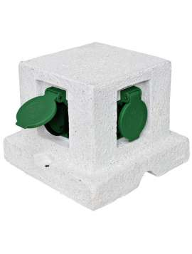 gartensteckdose echter granit unikat 4 steckdosen mit 1. Black Bedroom Furniture Sets. Home Design Ideas