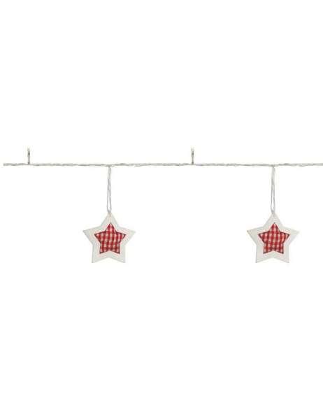 Hellum led minilichterkette sterne holz stoff 8 leds wa for Weihnachtslichterketten innen