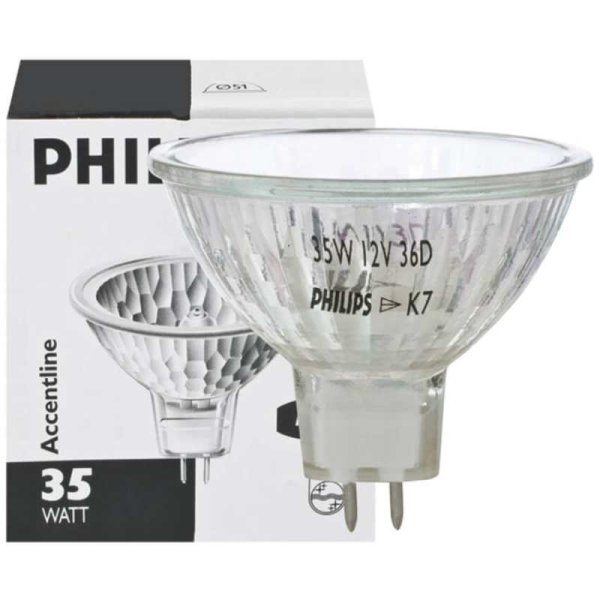 Philips Halogen-Spiegellampe MR16 35W 36° Flood mit Frontglas  EEK:B