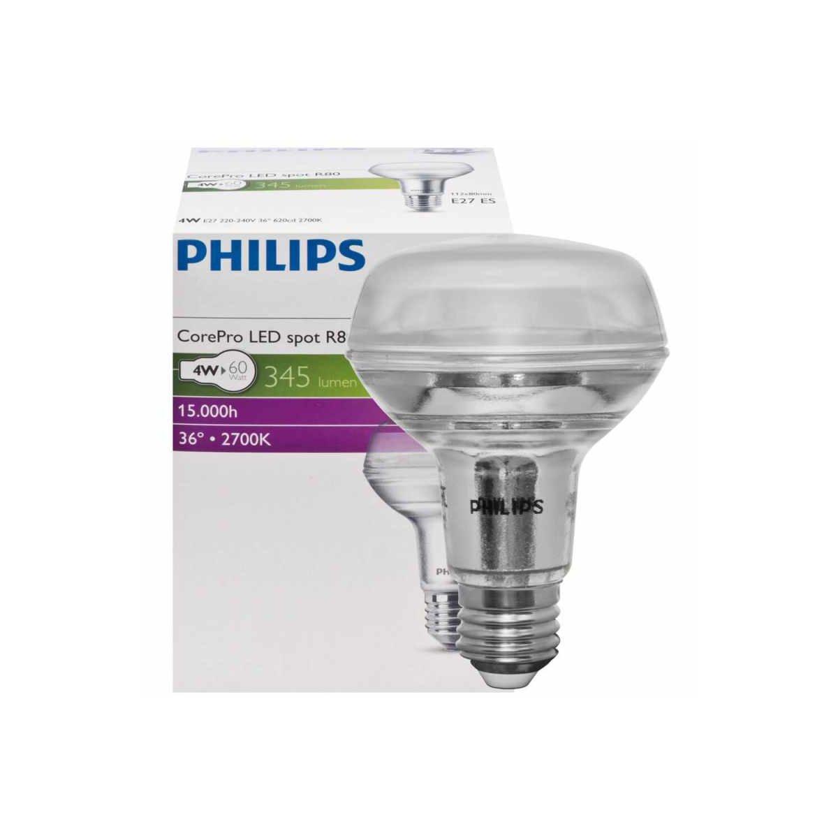 led reflektorlampe r80 e27 corepro 3 7w 370lm 2700k ph. Black Bedroom Furniture Sets. Home Design Ideas
