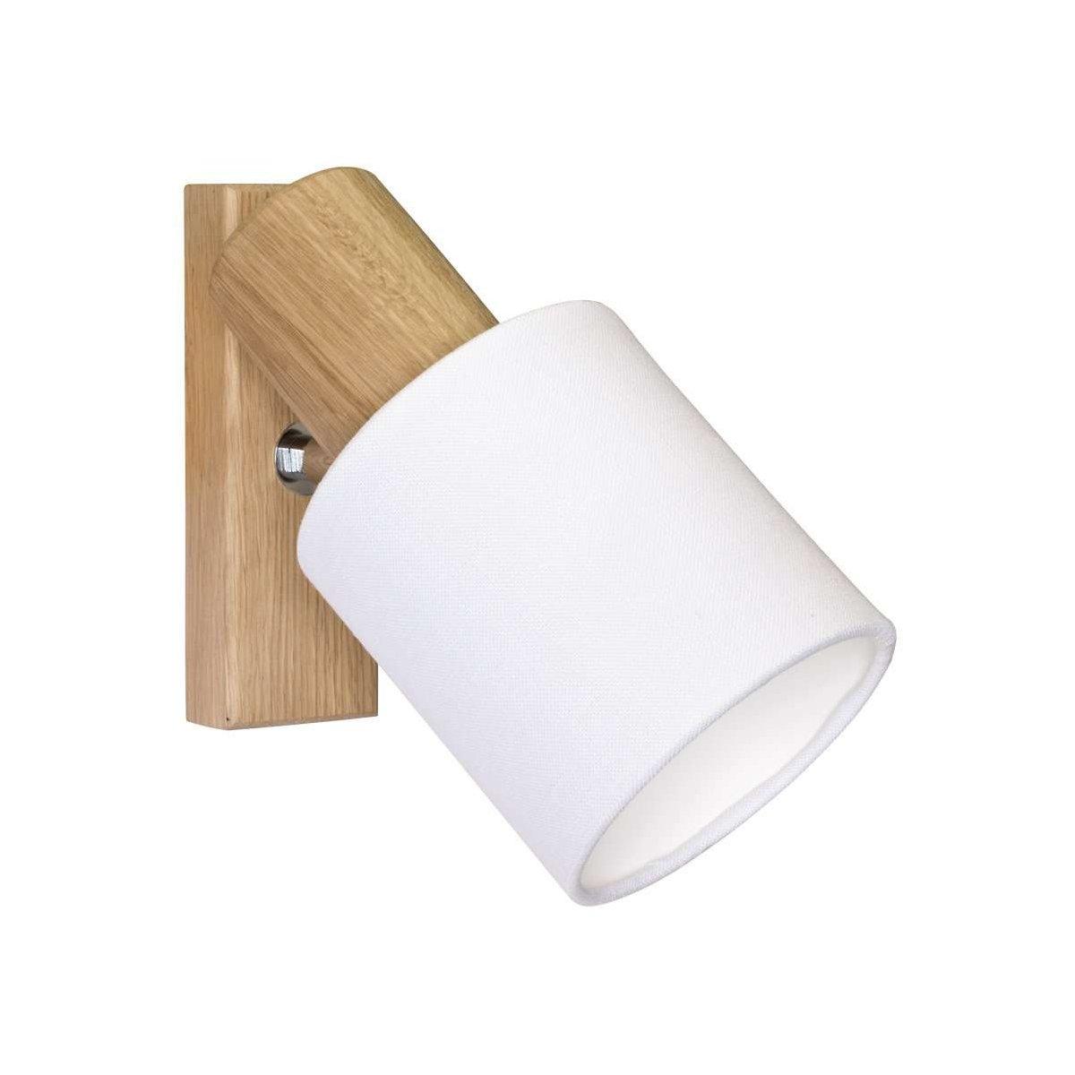 Deckenleuchte Schiene vierflammig Holz Eiche Textilschirm Fassung E27 Spotlight